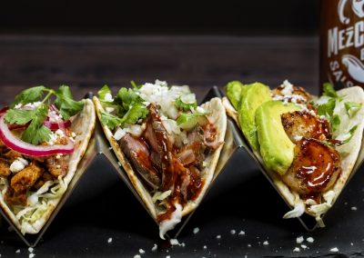 A trio of Tacos with Mezclajete® Especial